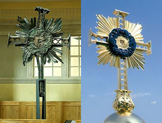 The burnt ruin of the original cross that topped the dome of the Dresden Frauenskirche: The new Frauenskirche cross