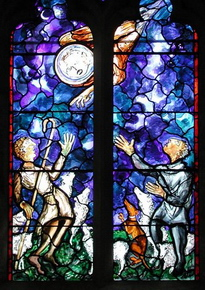 Stained glass window by John Piper at St Mary, Lamberhurst, Kent - the angel announces the good news to the shepherds